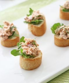 Salmon Salad Crostini #salmon #appetizer  passed hors d'oeuvres