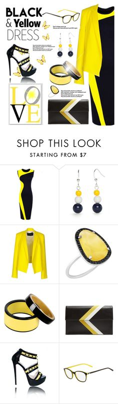 """""""Two Tone Dress: Sunshine and Darkness"""" by tjclay3 ❤ liked on Polyvore featuring Kim Rogers, Tara Jarmon, Christina Debs, Marni, Tomasini, yellow, black and twotonedress"""