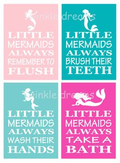 Mermaid art, bathroom print, mermaid print, mermaid wall art, little kid art print manners print educational print little girl by twinkledreamsdesign on Etsy Little Mermaid Bathroom, Little Girl Bathrooms, Mermaid Bedroom, Mermaid Nursery, Baby Bathroom, Bathroom Prints, Little Girl Rooms, The Little Mermaid, Mermaid Art