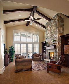 Lane Myers Construction Custom Home Builder  Free Residence Living Room Stone Fireplace High Beam Celing