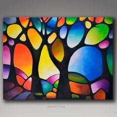 Dieses moderne abstrakte Bäume Leinwand Kunstdruck ist von meinem wunderschöne abstrakte Landschaftsbaum Gemälde Sonnenuntergang Bäume gemacht. Intensive Glasmalerei Sonnenuntergang Färbung in dieser Reproduktion von meinem original-Gemälde. 30 x 40 Zoll, 1,5 Zoll tief. Bedruckt