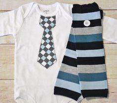 Dress up your little boy with an dashing tie bodysuits and matching striped leg warmers. The aqua, grey and ivory checkered patterned tie is hand cut, fused and sewn on for durability. My bodysuits are made to last wash after wash. Ever use leg warmers for a baby boy before? They are