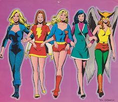 Super DC 1976 Calendar - The Women of DC (September) by Dick Giordano black canary mary marvel supergirl lois lane hawkgirl hawkwoman. Comic Art Community GALLERY OF COMIC ART Arte Dc Comics, Dc Comics Superheroes, Comics Girls, Shazam Dc Comics, Female Superhero, Superhero Movies, Lois Lane, Black Canary, Supergirl