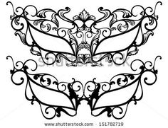 raster - ornate carnival masks outline - black over white by Cattallina, via Shutterstock