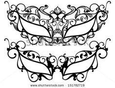 raster - ornate carnival masks outline - black over white by Cattallina, via Shutterstock