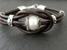 Pearl Bracelet Artisan Sterling Silver Leather Bracelet Love