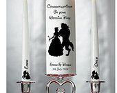 Personalised Beauty and the Beast Wedding Civil Ceremony Unity Candle Set Gift Keepsake