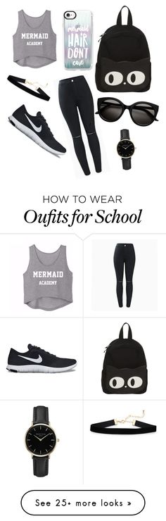 """Grey&black"" by hidayethidou on Polyvore featuring NIKE, Casetify and ROSEFIELD"