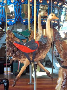 Richland Carrousel Park Carrousel -  Carousel Works Ostrich Jumpers