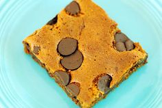 Paleo Almond Butter Blondies made with only 6 ingredients --almond butter, eggs, honey, salt, baking soda, and chocolate chips.