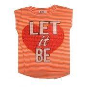 Girls Orange Stripe 'Let It Be' T-Shirt