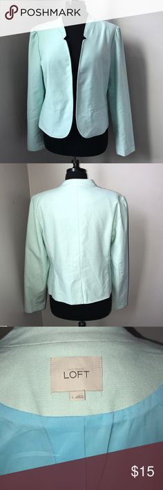 Aqua Blazer by Ann Taylor LOFT- L Stunning blazer jacket by Ann Taylor LOFT is a gorgeous shade of aqua. This lined jacket is a size large and could be great for work or dressed down with some jeans. From a non smoking home LOFT Jackets & Coats Blazers