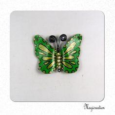 breloque papillon vinyle vert et doré 4.5 cm : Insectes par magicrea