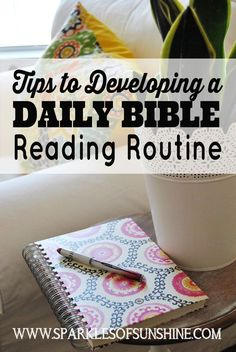 Do you have trouble reading your Bible daily? Visit Sparkles of Sunshine for tips to developing a Bible reading routine. Do you have trouble reading your Bible daily? Visit Sparkles of Sunshine for tips to developing a Bible reading routine. Bible Study Plans, Bible Study Notebook, Bible Study Tips, Bible Study Journal, Scripture Study, Bible Lessons, Scripture Reading, Daily Bible Reading Plan, Readers Notebook
