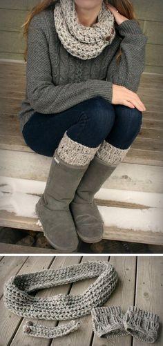 bufanda crochet y accesorios sobre calzas