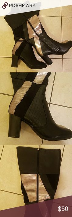 Sexy Faux Leather Boots Black w/Gold trim and 2 1/2 inch heel Never worn. 9 wide but fits fine on my 9M foot. Reasonable offers accepted Ashley Stewart Shoes Heeled Boots