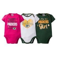 low priced d7c3d 4887b Baby Girl Green Bay Packers 3-Pack Bodysuits, Size