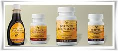 Forever Mountain Bee Honey, Forever Bee Pollen, Forever Bee Propolis and Forever Royal Jelly Forever Aloe, Le Pollen, Forever Living Business, Bee Propolis, Natural Aloe Vera, Chocolate Slim, Royal Jelly, Forever Living Products, Vitamins And Minerals
