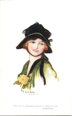 woman in green, black hat, facing left looking front by Dorothy Mostyn