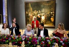 Queen Beatrix of the Netherlands, centre, hosted the gala dinner at the Rijksmuseum, April 29th 2013