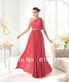 Custom Made Brides maid Dresses One Shoulder Floor-length Pink Beading Waist Chiffon Taefa's Wedding Maid of Honor