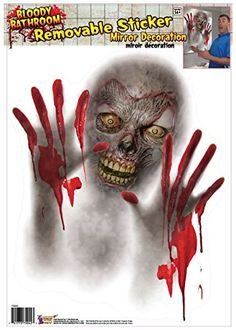 Bloody Bathroom Mirror Zombie Sticker Cling Decal Scary Party Decor Decoration *** You can find out more details at the link of the image.Note:It is affiliate link to Amazon. #shoutoutback