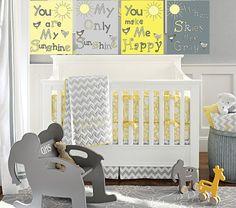 You are my sunshine 8x10 art prints/ gray and yellow nursery art print/ 4 piece set. $35.00, via Etsy.