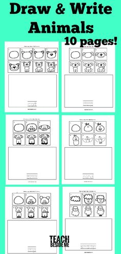 How to Draw Animals- Draw & Write Animals by casey Draw Animals For Kids, Easy Animals, Creative Teaching, Teaching Art, Teach Kids To Draw, Kindergarten Drawing, Kindergarten Worksheets, Ms Gs, Drawing For Kids