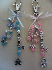 angel baby heart charms from the UK | Pram/Changing Bag Charm Baby Personalised Name Angel | Keyrings