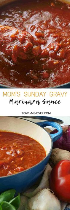 Do you love red sauce? Then you have to make Mom's Sunday Gravy aka Marinara… Do you love red sauce? Then you have to make Mom's Sunday Gravy aka Marinara Sauce! A delicious, perfectly balanced red sauce. Easy to make with amazing flavor! Sauce Recipes, Pasta Recipes, Cooking Recipes, Cooking Pasta, Sunday Gravy, Sauce Bolognaise, Red Sauce, Homemade Sauce, Marinara Sauce