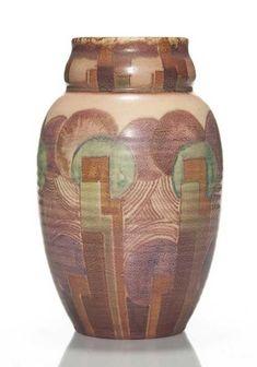 Rookwood Vellums in 1931 by Lorinda Epply. Rookwood Pottery, Pottery Vase, Art Deco Decor, Geometric Designs, American Art, Ceramic Art, Carving, Jun, Floral