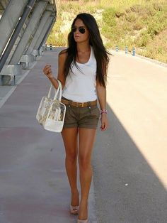 army shorts white tank top and nude shoes