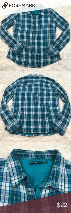 PrAna Teal Organic Cotton Button Down Plaid Top Vibrant teal and green plaid organic woven cotton double layer button down long sleeve shirt. Prana Tops Button Down Shirts