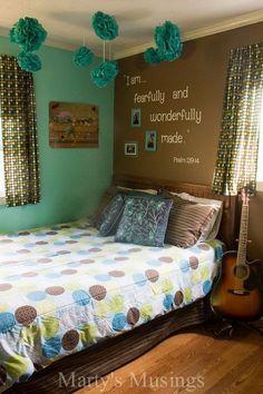 Teenage girls room with inspirational scripture wall. Small teenage girls' bedroom design idea. Sleep in style!