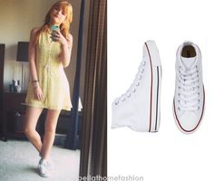 Bella Thorne wears these Converse Chuck Taylor All Star Hi Cut Canvas Sneakers in White in an instagram photo in March 2013.