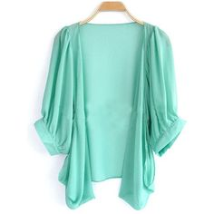 Green Puff Half Sleeve Dipped Hem Chiffon Cardigan ($31) ❤ liked on Polyvore featuring tops, cardigans, jackets, outerwear, sweaters, green, sheer tops, see through cardigan, print cardigan and chiffon cardigan