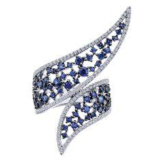 14k White Gold Diamond  And Sapphire Fashion Ladies' Ring   Gabriel & Co NY   LR50949W45SA