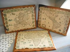 3 vintage Map Wall Hangings ~~  Wood Burned Wall plaques ~ Man Cave Office ~ Old World Charm