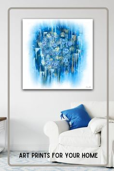 Bold blue color to add life to your blank wall. Any size, any medium. Quality prints. This is a digitally enhanced image of my canvas painted original art. The bouquet flowers are digitally placed and represent my original glass fused art. Original Artwork, Original Paintings, Bouquet Flowers, Metallic Paper, My Canvas, Selling Art, Fine Art Paper, My Images, Wall Murals