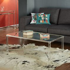 Erica Square Clear Acrylic Coffee Table With Gold Corners