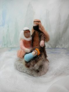 Needle Felted Nativity Scene, Waldorf Christmas Nativity, Wool Roving Figures…