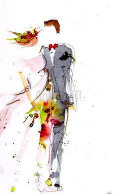 aquarelle sur le thme du mariage pour ide de faire part cadeaux invits - Faire Part Mariage Etsy