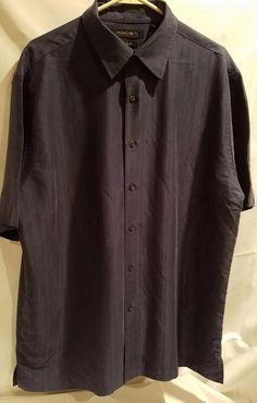 Mens Axist Size XL Silk Touch Short Sleeve Button Down Blue Dress Shirt #Axist