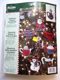 Bucilla Mary Engelbreit Felt Embroidery Ornament Kit 85018 Christmas Teapots New #Bucilla