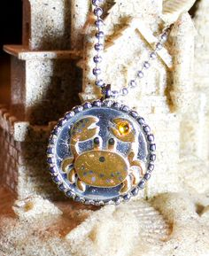 Charity Item Yellow Crab Pendant  Benefits Ric O'Barry's The Dolphin Project by GreyGyrl, $10.00