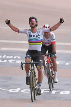Arrival / Peter Sagan of Slovakia and Team Bora Hansgrohe / Celebration / Silvan Dillier of Switzerland and Team AG2R La Mondiale / during the 116th...