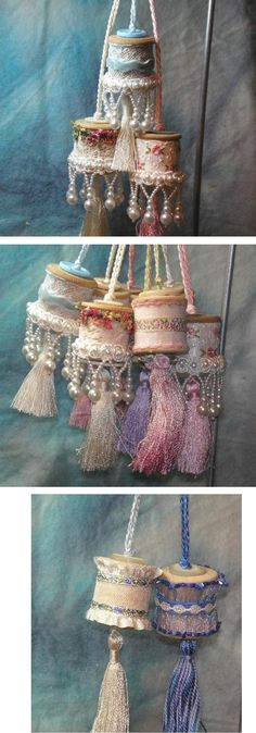 Neat idea for ornament or embellishing crafts - pretty tassles made from thread spools. :)