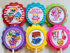 12 Shopkins Birthday Party Cupcake Toppers por sweetheartpartyshop