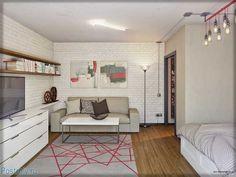 Зона гостиной в однокомнатной квартире в стиле Лофт - Фото
