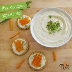 Thai Coconut Yogurt Dip and Veggie Bites Thai Coconut, Coconut Yogurt, Veggie Bites, Dip Recipes, Eating Healthy, Citizen, Thai Red Curry, Dips, Easy Meals